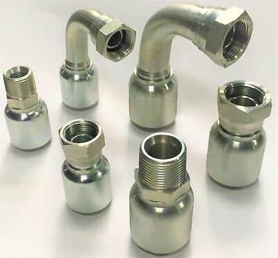 """Crimp One Piece Hydraulic BSP Hose Fitting, Fittings 3/4"""" 1"""" Hose"""