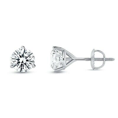 2ct Created Diamond Back Stud Earrings 14k Solid White Gold 3 G Martini