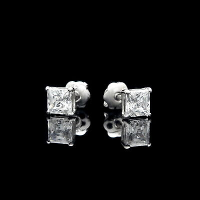 0.80CT Princess Created Diamond Square Stud Screw-back Earrings 14K White Gold