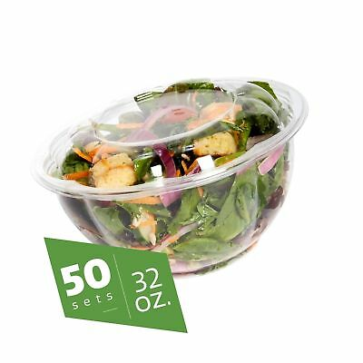 Salad Bowls to go with Lids (50 Pack) - Clear Plastic Disposable Salad Contai...