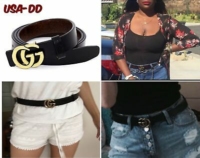 Womens Genuine Leather Thin Belts Fashion Letter Buckle Jeans 0.9? Wide GG Gift
