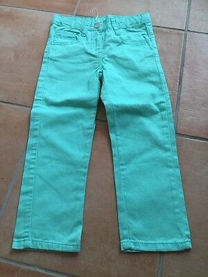 Girls Green Denim Jeans Trousers 2-3 Years 98cm Boys Bnwt