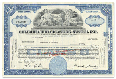 Columbia Broadcasting System, Inc. Stock Certificate