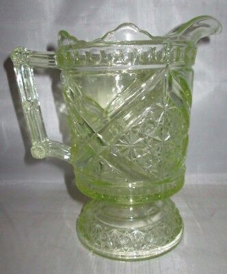 Beatty Daisy & Button w/ V Ornament Vaseline Uranium Glass 12 oz. Pitcher 1890's