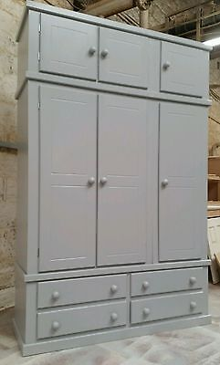 Shaftesbury Range Triple 4 Drawer Wardrobe With Top Box Painted Grey