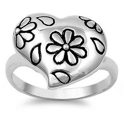 Womens LARGE DAISY HEART ~ Genuine Solid STERLING SILVER Ring ~ Size 9 / S