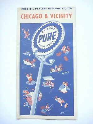 Vintage Pure Oil Chicago & Vicinity Road Map Atlas Illinois Gas Advertising *nm*