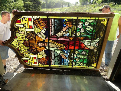 9 FT STAINED GLASS WINDOW Christ 1890 Religious Great Vivid Colors RARE Utah