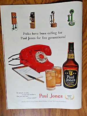 1951 Paul Jones Whiskey Ad  Five Generations Telephones Phones Theme