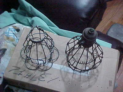2 Vintage Wire Light Covers Cages Industrial Steampunk Zee Arrow