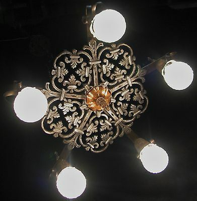VINTAGE GOTHIC REVIVAL ART CRAFT DECO CAST METAL CHANDELIER FIXTURE 30's