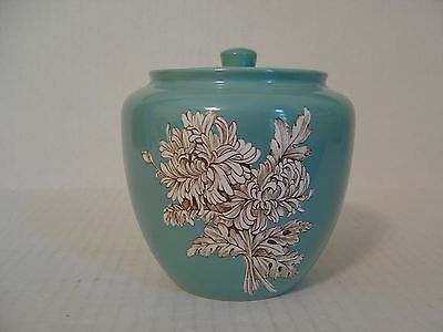 Vintage Crown Devon Fieldings Blue Jar And Lid With Chrysanthemum Pattern Englan