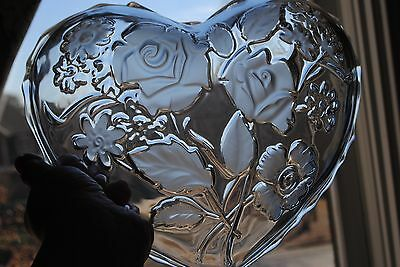 "Mikasa 9.5"" Heart Rose Bouquet Glass Crystal Bowl Hostess Ribbon Valentine's Day"