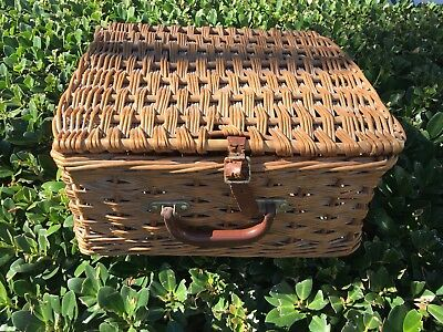 Vintage Cheney Wicker Suitcase / Picnic Basket