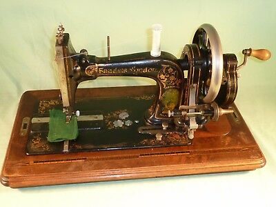Antique Faudels London Hand Crank Sewing Machine German Made
