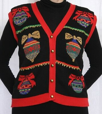 * VINTAGE UGLY CHRISTMAS ORNAMENTS SWEATER VEST GOLD METALLIC SMALL to MEDIUM