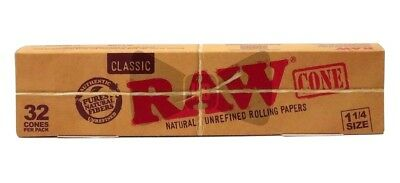 32 Pcs RAW Classic Hemp, Medium 1 1/4, Pre Rolled Cones Tip Roach Rolling Paper.