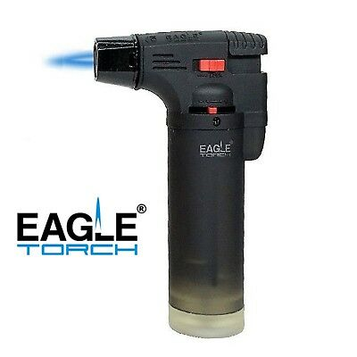 Eagle Jet Torch Gun Lighter Adjustable Flame Butane Refillable Windproof - BLACK