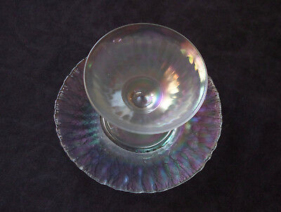 Imperial Smooth Rays Iris Ice Stretch Sherbet & Plate, Antique White Carnival S4