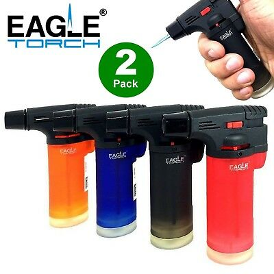 2-Pack Eagle Butane Torch Lighter Gun Windproof Adjustable Jet Flame Refillable