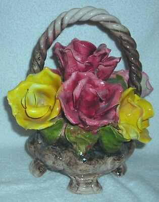 Capodimonte - Vtg Made In Italy Hand Crafted Pink Yellow & Peach Rose Bouquet