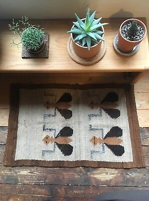 "Vintage Mid Century WOOL Entry RUG Insects Bee Ants Boho Kilim Brown 23""x38"""
