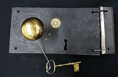 Vintage Reproduction Iron and Brass Metal Rim Carpenter Style Lock Set with Key
