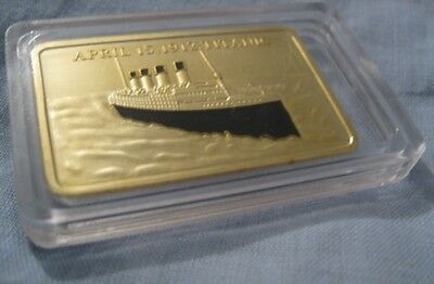 RMS TITANIC Gold Layered Bar Ingot Ship Disaster 1912 London New York City Ocean