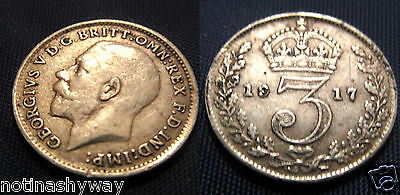 Solid SILVER Threepence 1917 Coin World War I London Antique Vintage Old II Old