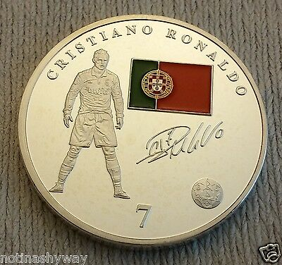 Christiano Ronaldo Real Madrid Badge Crest Silver Coin Portugal Legend Hero Old