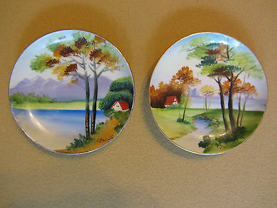 Vintage Pair of Hand Painted Mini Wall Plates - Made in Japan