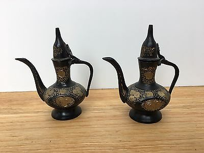 Pair Vintage Mini Middle Eastern Arabian Black Brass Coffee Pots Urns Dallah