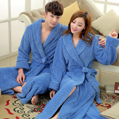 Men's Women's Luxury Thermal Coral Fleece Dressing Gowns Super soft Bath Robes *