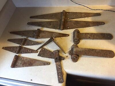 "LOT 10 Antique BARN DOOR HINGES Rusty  24"" vintage farm rustic primitive"