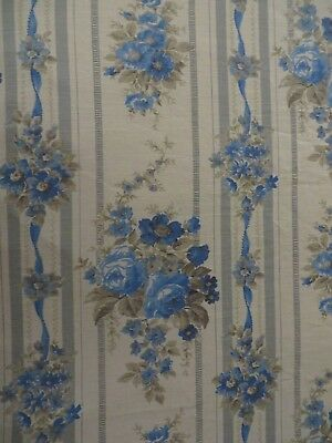 BEAUTIFUL VINTAGE FRENCH  COUNTRY BLUE ROSES BED COVER  ~ ** MARIGNAN **  1940's