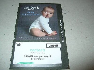 CARTER's babies & Kids 20% OFF PURCHASE EXPIRES DEC2018 gift card coupon clothes