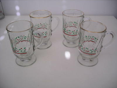 Set of 4 Arby's 1980s Christmas Collection Holly Berry Irish Coffee Mugs!