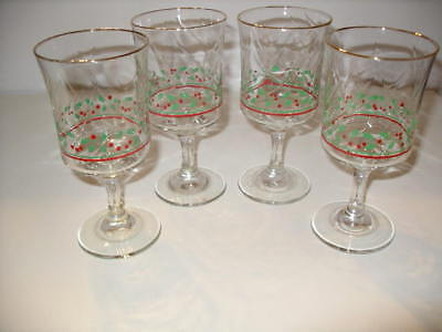 Set of 4 Arby's 1986 Christmas Collection Holly Berry Stemmed 12 oz Goblets!