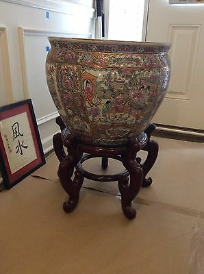 Antique Large Chinese Art Asian Decor Porcelain Fish Bowl Planter with Stand EC