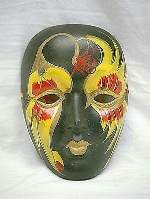 Classic Red Yellow Mardi Gras Mask New Orleans Wall Art Porcelain Ceramic Decor