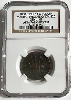 Admiral Gardner Shipwreck Coin East India NGC Certified 1808 Madras 10 Cash
