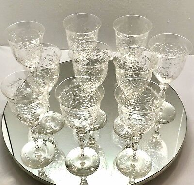 10 Ornately Cut Crystal Water Goblets Stems