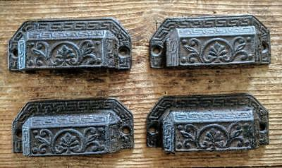 FOUR (4) Cast Iron Handles Drawer Bin Pulls Rustic Brown Vintage Style 3 3/4""