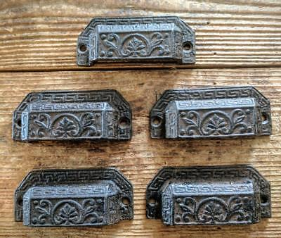 FIVE (5) Cast Iron Handles Drawer Bin Pulls Rustic Brown Vintage Style 3 3/4""