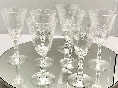 7 Heisey Narcissus Beautifully Cut Crystal Water Goblets