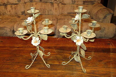 2 Vintage 4 Arm 5 Candle Wrought Iron Candelabra Candles Floral Design