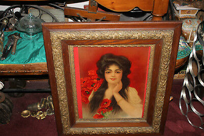Antique Victorian Print Woman Long Hair Flowers-Gilded Gold Scroll Wood Frame
