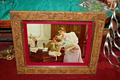 Antique Victorian Print Man Woman Child-Gilded Gold Scroll Wood Frame