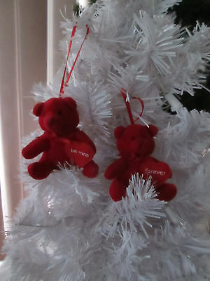 """Lot of 2- Small 2.75"""" Plush Red Valentines Day Bears with Heart Ornaments, NEW"""