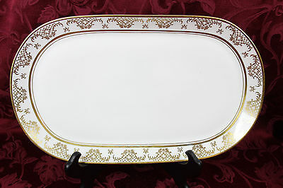 "Vintage Kahla China East Germany Ornate White and Gold 16"" Serving Platter"